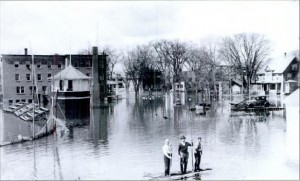Main St. in Fort Kent during the flood of 1930.   From the book Upper St. John Valley by Frank Sleeper