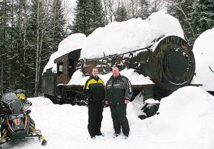 Sledders stop by the Lost Trains of the Allagash