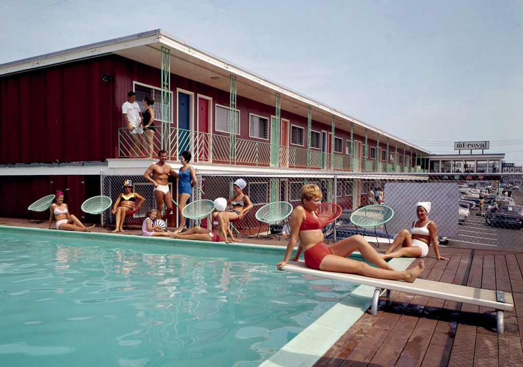 Guests relax around the swimming pool at the Mt. Royal Motel in Old Orchard Beach.