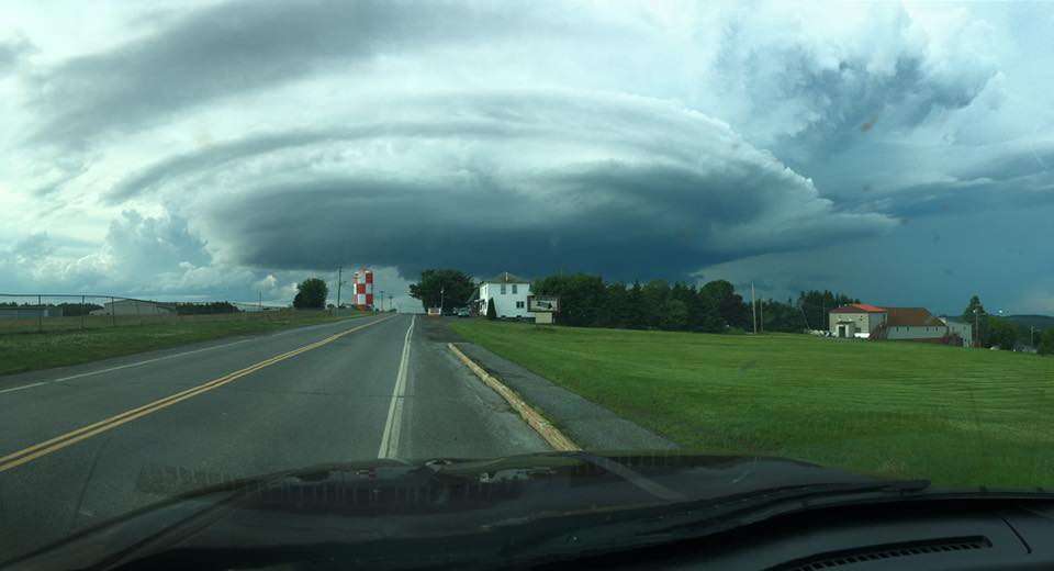 thunderstorm wall cloud over Limestone Maine