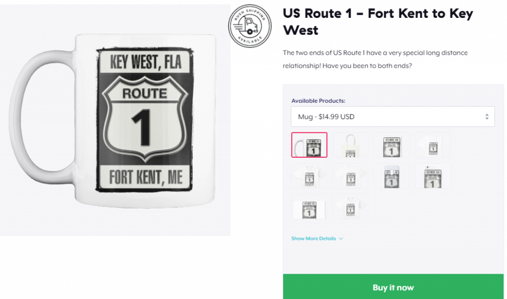 fort kent to key west sign mug